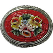 Beautiful Floral Mosaic Italy Oval Hand Made Red Vintage Brooch Pin