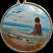 Signed Hand Painted Beach Sea Scene 14K gf setting Vermeil Chain Vintage Pendant Necklace