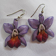 Gorgeous Purple Orchids Hand Made Leather Flower Figural Vintage Earrings