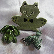 Group Three Cute Hand Made Ceramic Frog Toad Vintage Brooch Pin