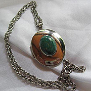 Signed Mid Century Modern WRE Sterling Silver and Eliat Stone Vintage Huge Locket Pendant Necklace