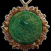 Vendome Signed Huge Asian Phoenix Bird fx Jadeite Green Statement Vintage Pendant Necklace