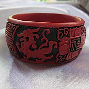 Fabulous Wide Asian Dragon Chinese Symbols Statement Cinnabar Red Style Vintage Bracelet