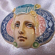 Fabulous Rare David Keyes Tacoma Ceramic Art Nouveau Style  Woman Vintage Brooch Pin