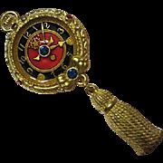 Bob Mackie Signed Clock Watch Tassle Enamel Gold Plated Vintage Brooch Pin