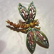 Signed ART Gorgeous Enamel Austrian Crystal Rhinestone Dragonfly Vintage Brooch Pin