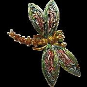 Gorgeous Signed ART Enamel Austrian Crystal Rhinestone Dragonfly Vintage Brooch Pin