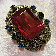 Gorgeous Czech Ruby Red Emerald Cut Austrian Crystal Ornate Setting Vintage Brooch Pin