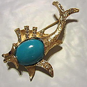 Adorable Fish Figural fx Turquoise Cab Belly Austrian Crystal Rhinestone Fins Tail Vintage Brooch Pin