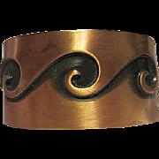 Signed Solid Copper Wide Modernist 1950s Bell Trading Post Vintage Cuff Bracelet