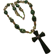Gorgeous Jadeite Peking Glass Faceted AB Crystals Green Cross Vintage Upcycled Necklace.