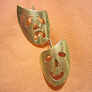 Taxco Sterling Silver 925 Artist Hand Made Comedy Tragedy Mask Modernist Vintage Earrings