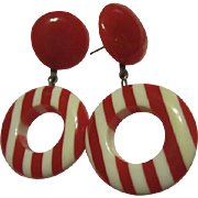 Mod 1960s Candy Stripe Red White Lucite Funky Dangle Vintage Post Earrings