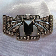 Classic Art Deco Style Sterling Silver Sparkling Austrian Crystals Vintage Brooch Pin 925