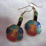 Stunning Chinese Guilloche Cloisonne Colorful Flowers Vintage Earrings