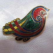 Colorful Guilloche Enamel Bird Figural Modernist Vintage Brooch Pin