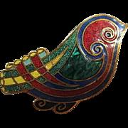Colorful Guilloche Enamel Bird Figural Modernist Vintage Brooch Pin