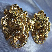 Fabulous Lion Figural Doorknocker Statement Vintage Earrings