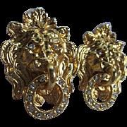 Fabulous Lion Doorknocker Statement Vintage Earrings