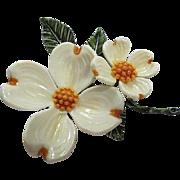Gorgeous Dogwood Flower Figural Vintage Brooch Pin