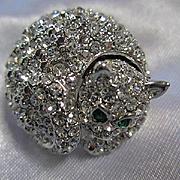 Sparkling Pave Austrian Crystals Kitten Figural Green Eyes Vintage Brooch Pin