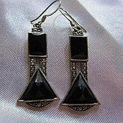 Art Deco Style Enamel Marcasite Silver color Vintage Dangling Earrings
