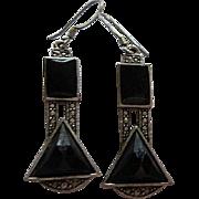 Art Deco Style Enamel Marcasite Silver color Vintage Dangling Earrings