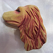 Hand Carved Wonderful Wooden Irish Setter Dog Figural  Folk Art Vintage Brooch Pin