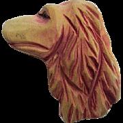 Hand Carved Wonderful Wooden Irish Setter Dog Figural  Folk Art Vintage Brooch Pin