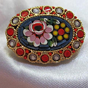 Lovely Oval Mosaic Italy Vintage Brooch Pin