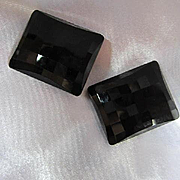 Fabulous Western Germany Black Faceted Bold Vintage Clip Earrings Signed