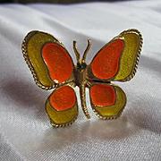 Rare Florenza Signed Mod 1960s Enamel Butterfly Figural Vintage Ring Mint