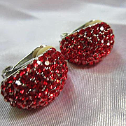 Sparkling Signed Red Swarovski Crystal Half Hoop Vintage Clip Earrings