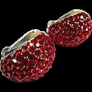 Sparkling Signed Red Swarovski Crystal Half Hoop Vintage Clip Earrings