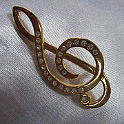 Napier Signed Treble Clef Musical Note Embedded Rhinestones Vintage Brooch Pin