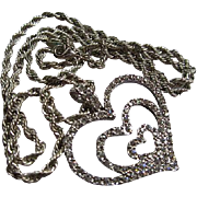 Nolan Miller Signed Triple Hearts Swarovski Crystal Rhinestone Vintage Pendant Necklace