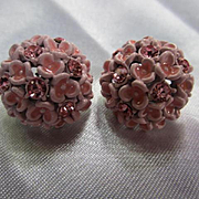 Gorgeous Pink Enamel Flower Rhinestone Vintage Clip Earrings