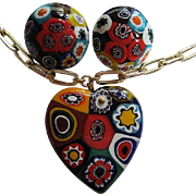 Gorgeous Older Venetian Millefiori Hand Blown Glass Vintage Heart Pendant Necklace Earrings Set