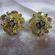 Gorgeous Signed Lisner AB Crystal Rhinestone Vintage Clip Earrings
