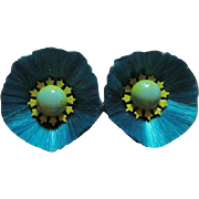 Rare Hattie Carnegie Teal Blue Silk Fiber Enamel Flower Fabulous Vintage Clip Earrings 1960s