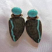 Fabulous Sleeping Beauty Turquoise Inlaid Stone Modernist OAK Sterling Silver Modernist Vintage Post Earrings