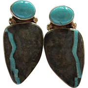 Fabulous Sleeping Beauty Turquoise Inlaid Stone Modernist OAK Sterling Silver Modernist Vintage Post Earrings