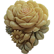 Gorgeous Celluloid Pastel Flower Vintage Dress Clip