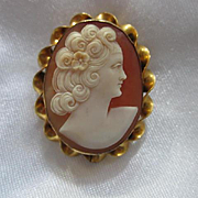 Beautiful Hand Carved Shell Cameo Woman Portrait Gold Filled Vintage Brooch Pin Pendant