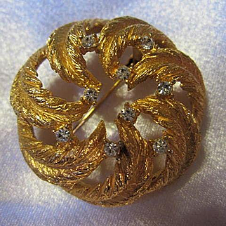 Signed Paris Gold Plated Wreath Sparkling Austrian Crystal Classic French Barrel Clasp Vintage Brooch Pin