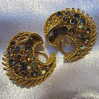 Sparkling Signed Coro Crescent Moon AB Crystal Vintage French Clip Earrings
