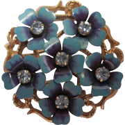 Love Blossoms Blue Enamel  Rhinestone Flowers Vintage Pendant Brooch Signed Avon.