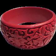 Fabulous Wide Carved Red Cinnabar Flowers Intricate Design Vintage Bangle Bracelet