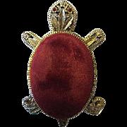 Vintage Red Velvet Gold tone Rhinestone Eyes Pin Cushion Near Mint Condition