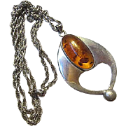 Stunning Huge Amber Modernist Sterling Silver Artist Hand Made Statement Vintage Pendant Necklace Heavy Rope Chain